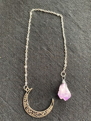 Rough Amethyst With Crescent Moon