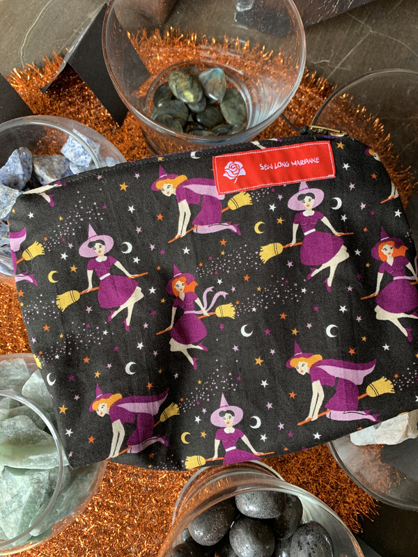 Vintage Style Witch Zipper Bag