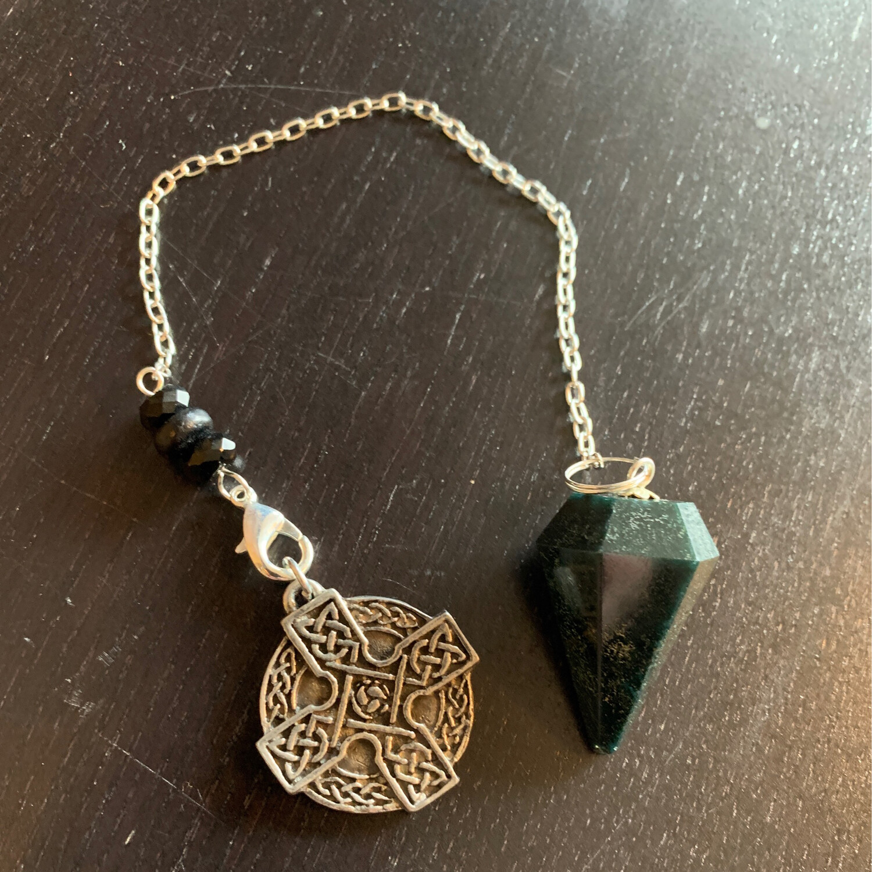 Bloodstone w/ Celtic Cross Pendulum
