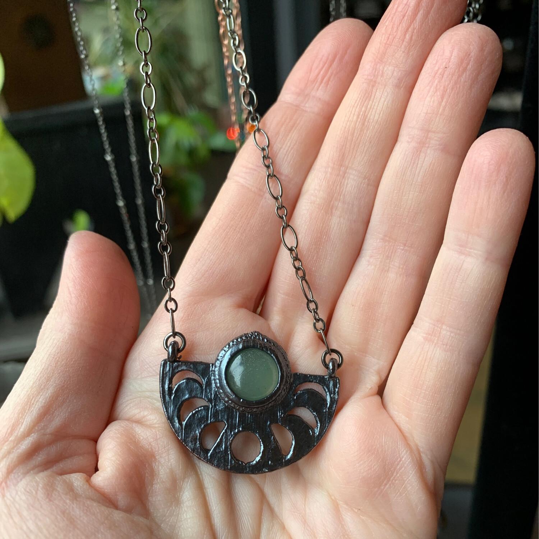 Adventurine Moon Phase Necklace