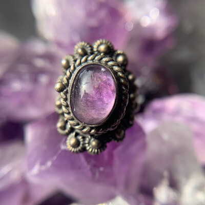 Antique Amethyst Poison Ring