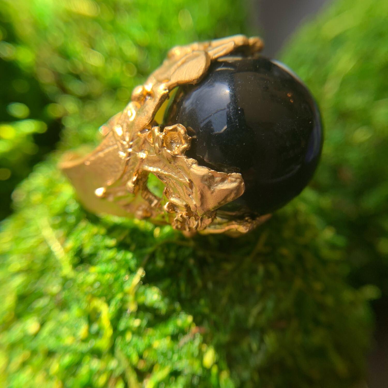 Black Onyx Gold Orb Ring - 10