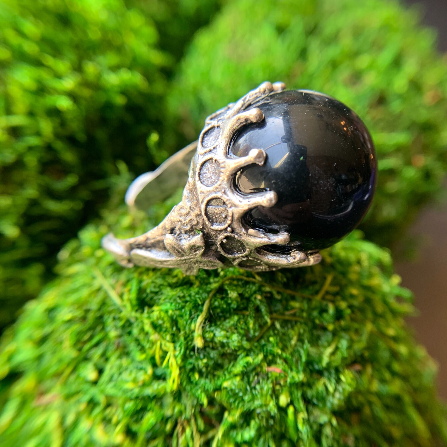 Black Onyx Silver Orb Ring - 8