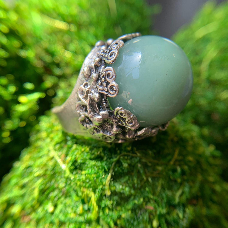 Adventurine Silver Orb Ring - 7