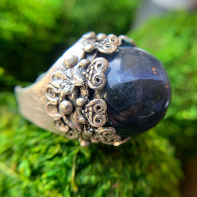 Sodalite Silver Orb Ring - 8
