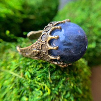 Sodalite Brass Orb Ring - 8