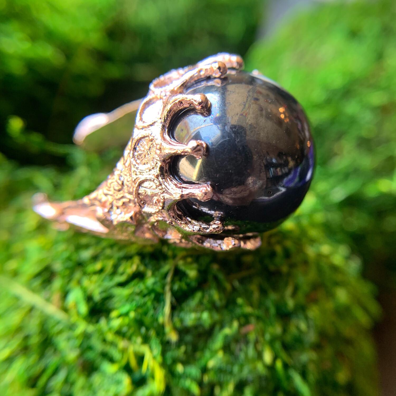 Hematite Rose Gold Orb Ring - 8