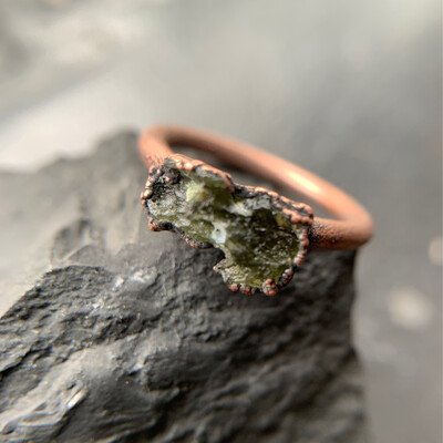Moldavite Ring Rough