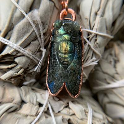Carved Labradorite Cicada Nacklace