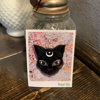 Real Sic Luna Black Kitty Pin