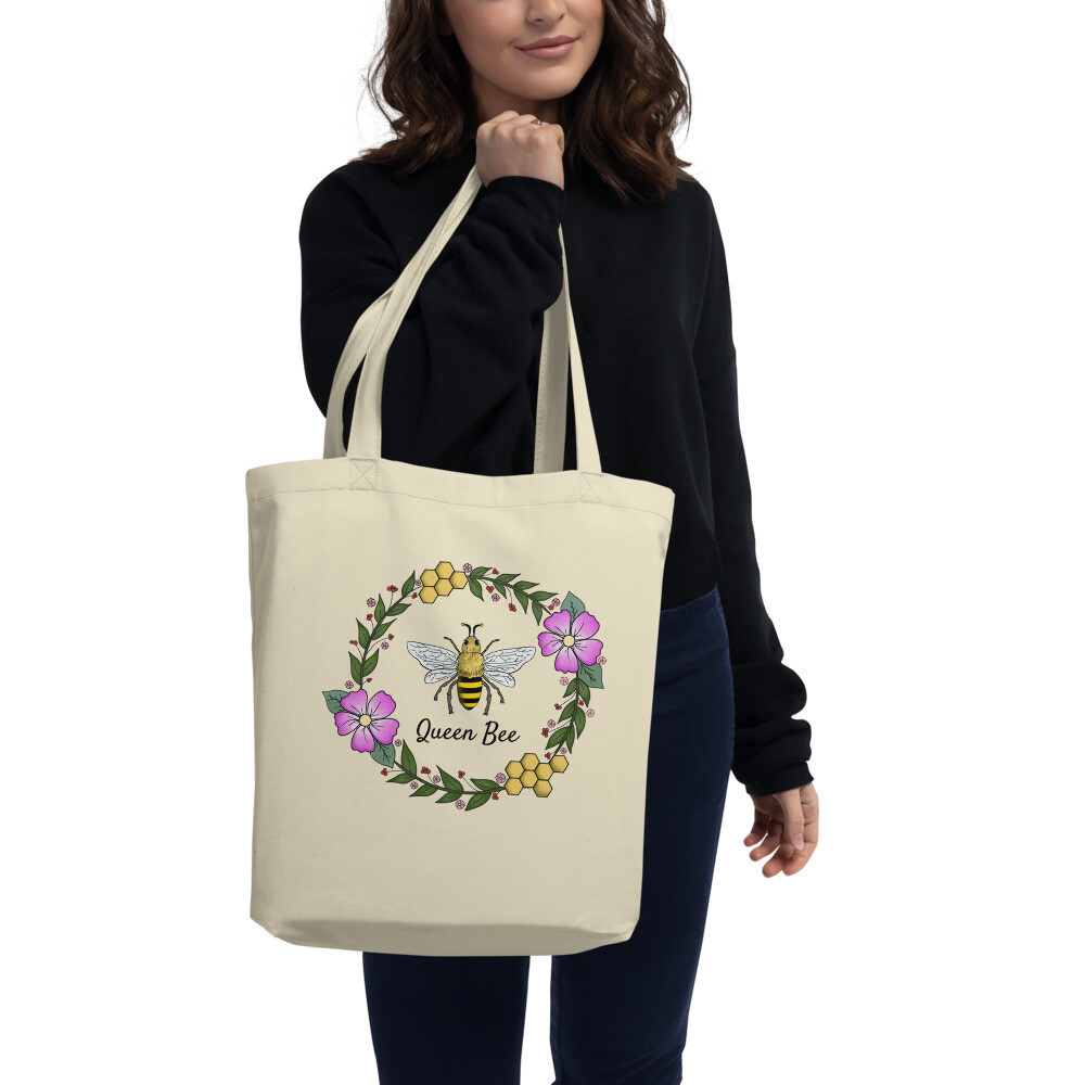 Floral Bee Wreath on Eco Tote Bag (Queen Bee)