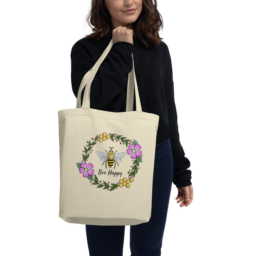 Floral Bee Wreath on Eco Tote Bag (Bee Happy)