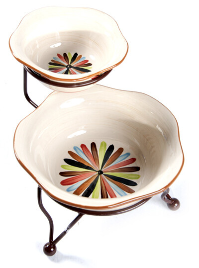 """Vieux Carre Iron Stand with 6"""" and 9"""" Bowls"""