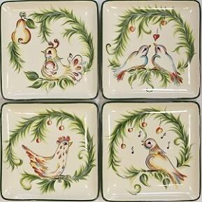 "4, 7"" 12 Days of Christmas Dessert Plates"