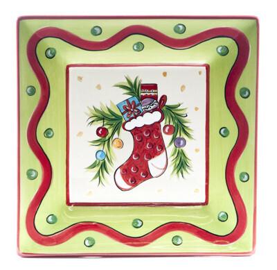 "Christmas Bright Stocking 8"" Plate"