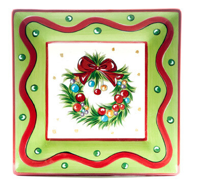 "Christmas Bright Wreath 8"" Plate"