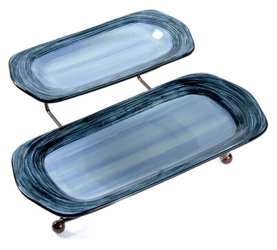 """Simply Gail Blue Iron Stand with  11"""" and 15"""" Platters"""