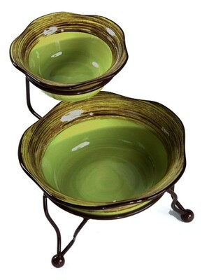 Simply Gail Green Iron Stand with Bowls