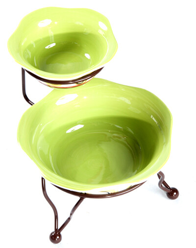 Honeysuckle Iron Stand with Bowls