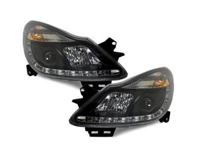 LED Tagfahrlicht-Optik-Scheinwerfer Opel Corsa D 06-11 schwarz