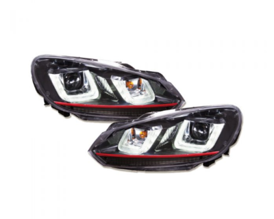 LED Tagfahrlicht-Upgrade-Scheinwerfer VW Golf 6 VI im GTI / R32 DESIGN 08-13 schwarz/rot