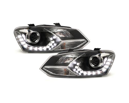 LED Tagfahrlicht-Optik-Scheinwerfer VW Polo 6R 09-14 schwarz