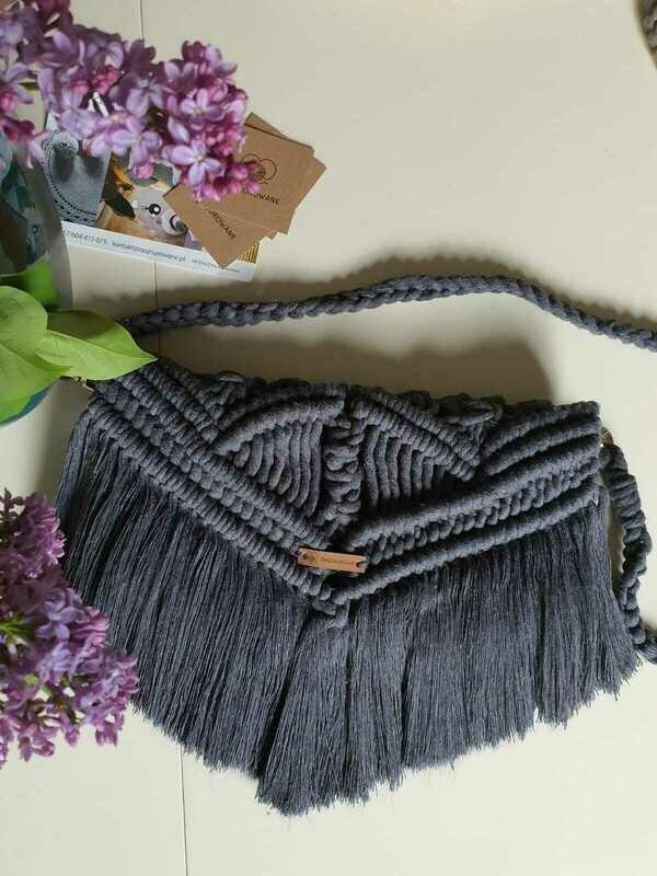 Dark Grey Macrame Boho Bag