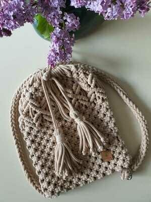 Sand Macrame Backpack