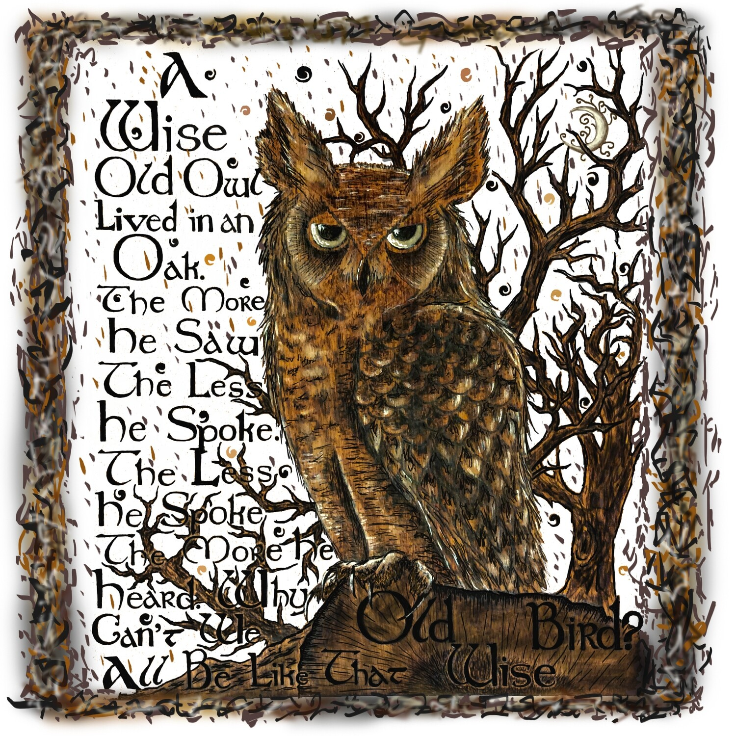 """Wise Old Owl Print  12"""" x 12"""""""