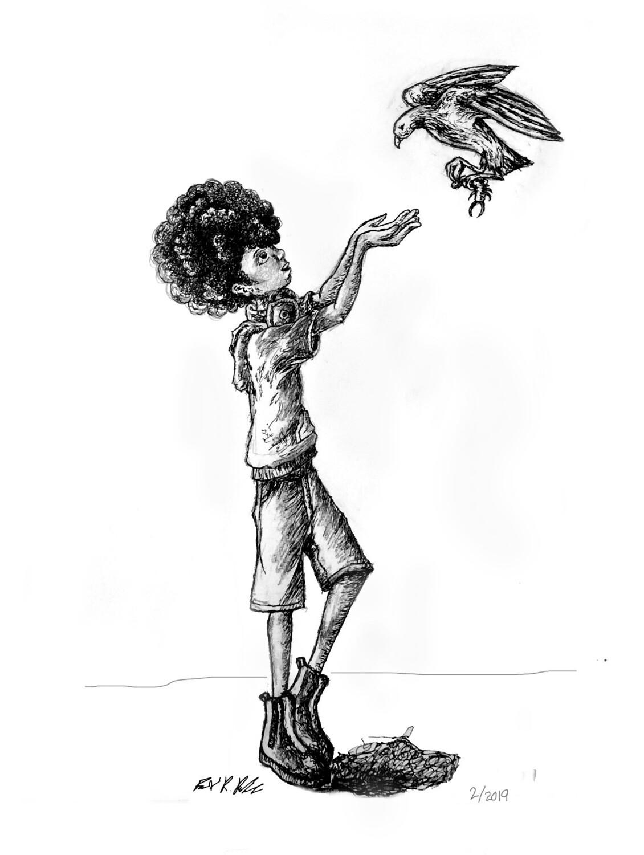 "The Boy and the Bird Print  8.5"" x 11"""