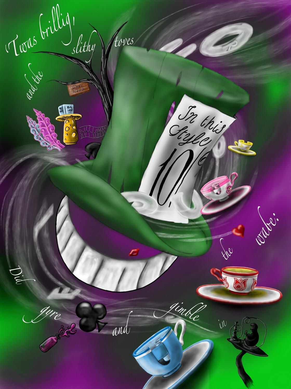 "Mad Cheshire 'Twas Brillig Print  11"" x 14"""