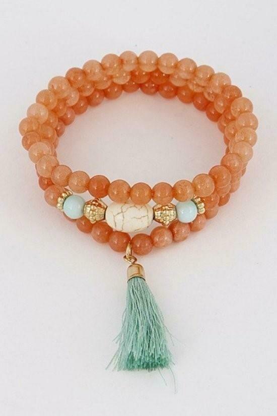 Enchanting Natural Beaded Stones With Tassel Bracelet