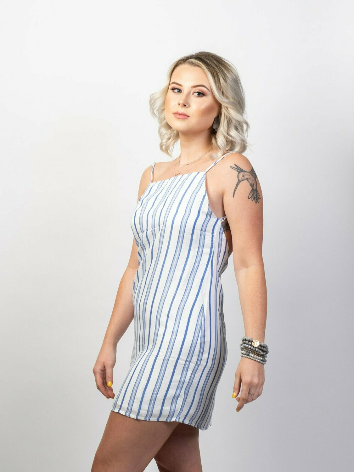OLIVACEOUS - Pin Stiped Dress