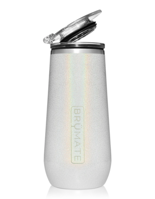 Flute Insulated 12oz Champagne Flute Glitter White