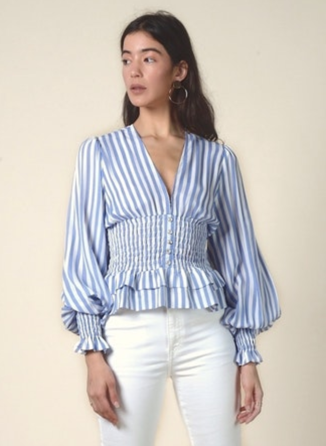 Striped Smocked Waist Top