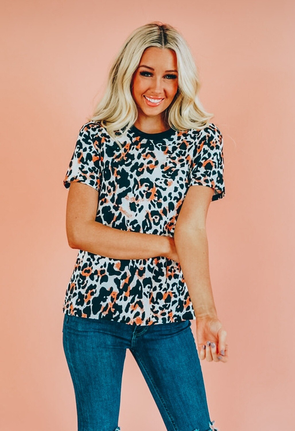 Misguided Leopard Print Tee