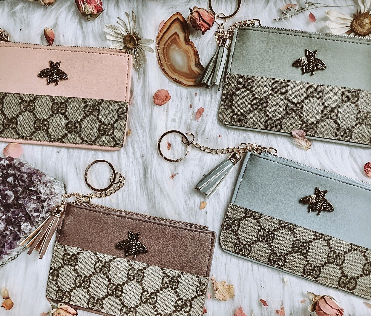 Pastel Gucci Bee Cardholders