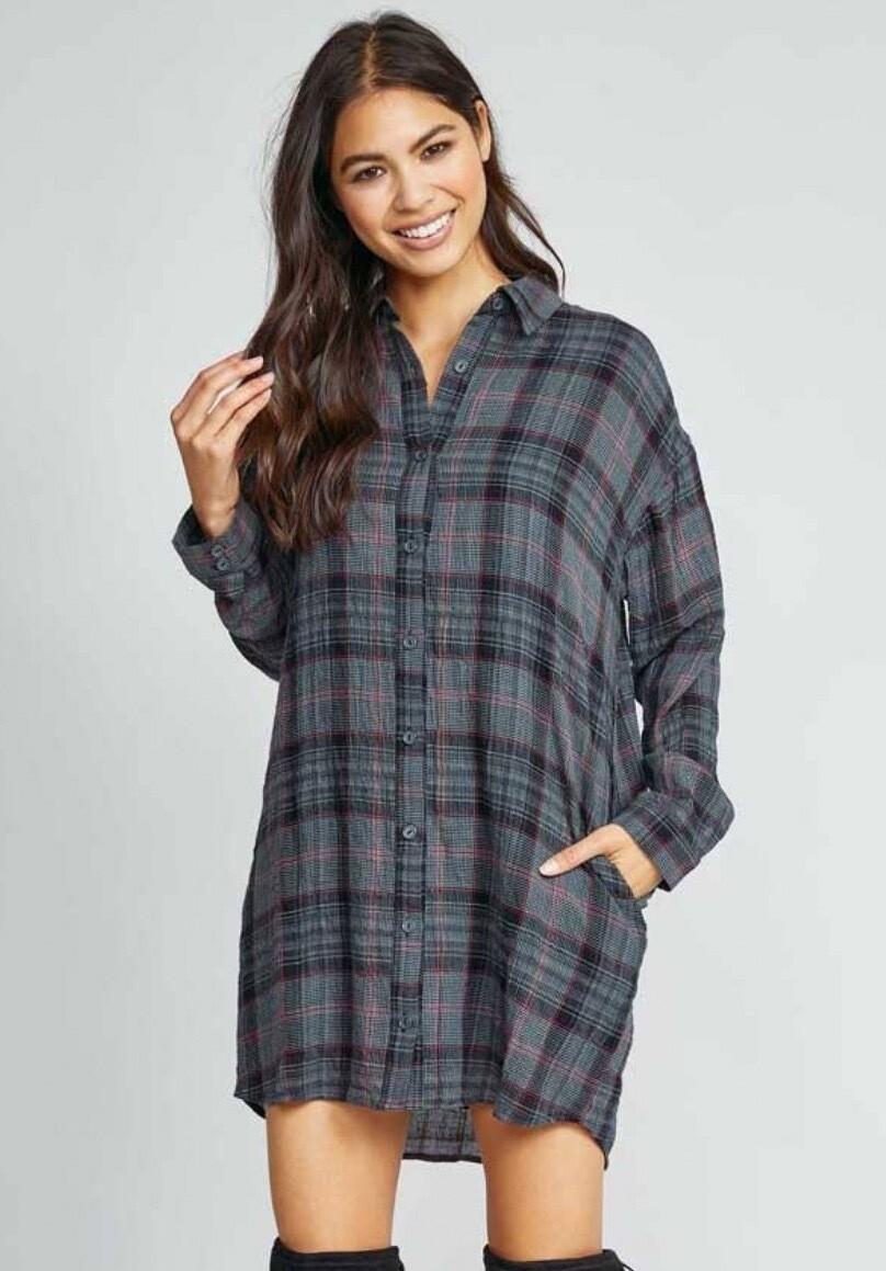 Flannel Denim Dress