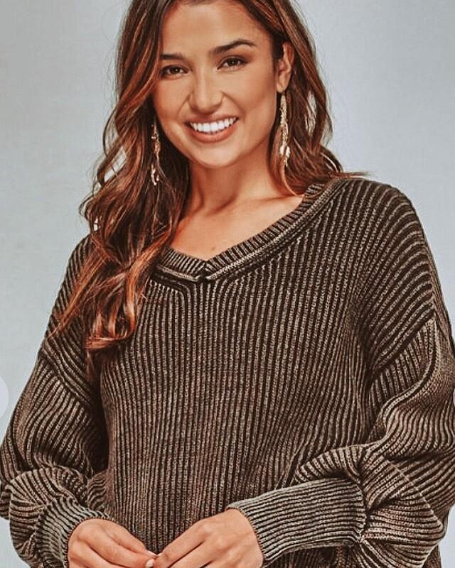 Distressed V-Neck Sweater