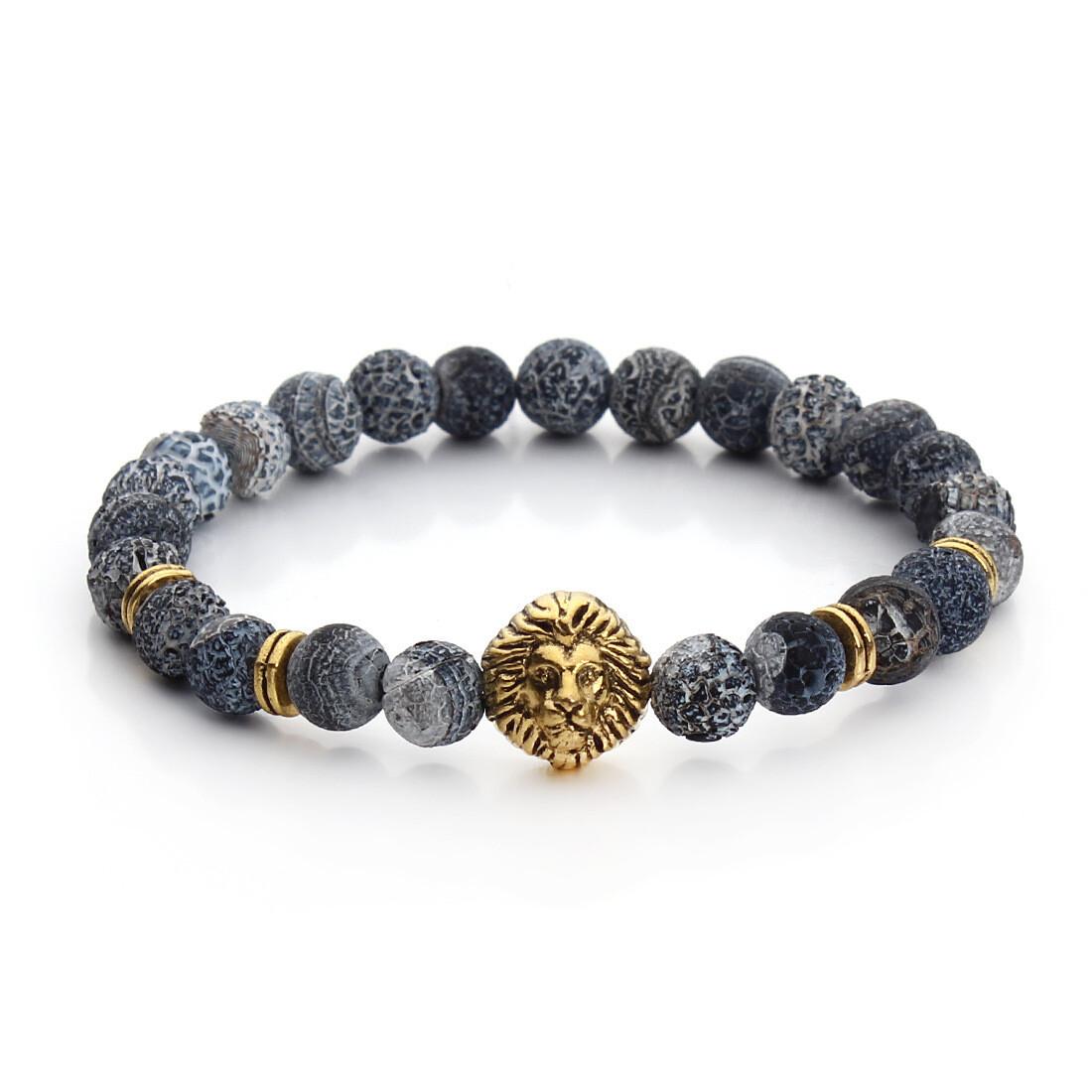 Bracelet Herren Lion Blau/Grau