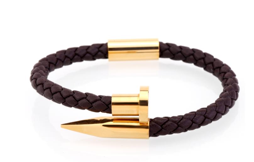Brown/Gold Leather Bracelet