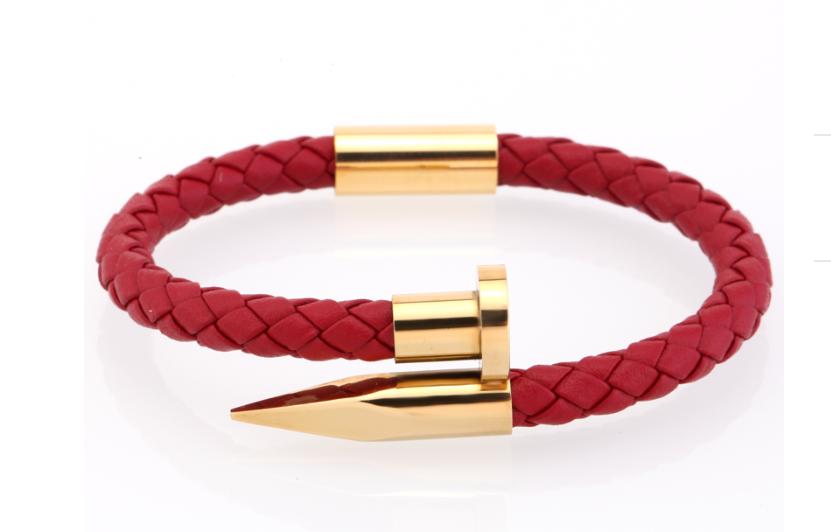 Rot/Gold Leather Bracelet