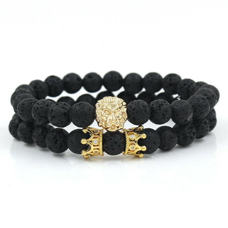 Bracelet Lion und Krone Gold