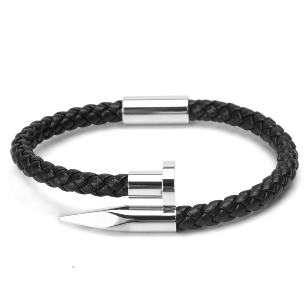 Silber/Schwarz Leather Bracelet