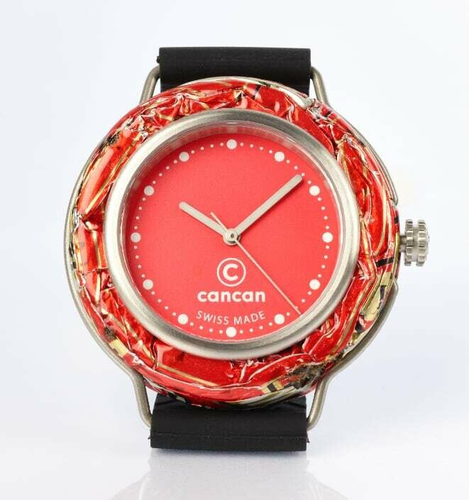 Cancan Uhr - Rotes Ziffernblatt