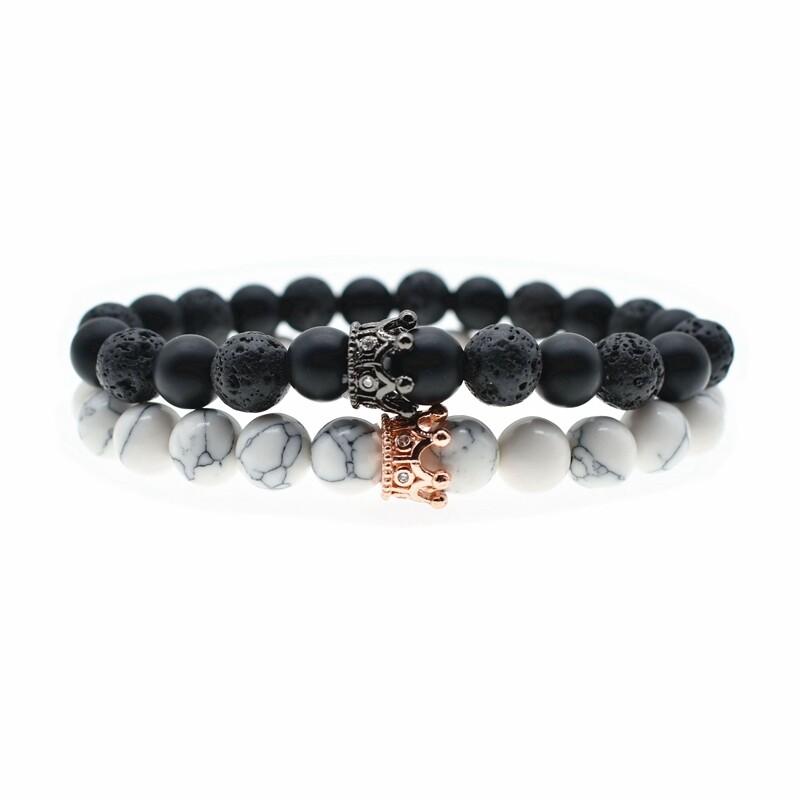 Bracelet Crowne Black/Rosegold