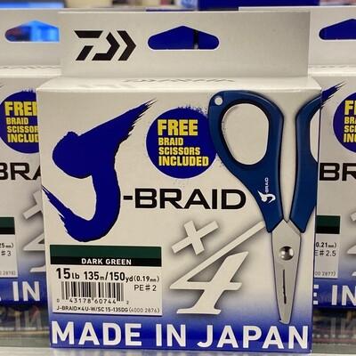 Daiwa J-Braid x4 Dark Green with Scissors