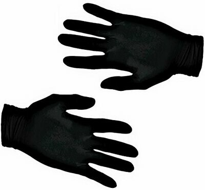 200 Black Textured Latex Gloves - Powder Free