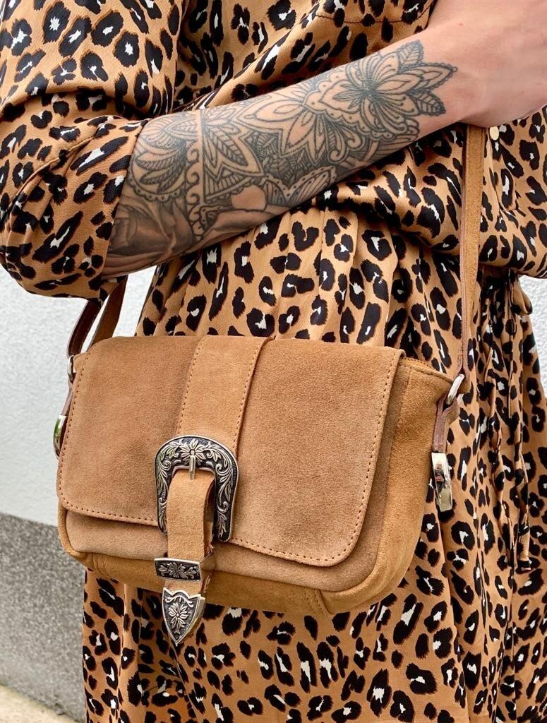Handtasche Stella Wildleder Cognac