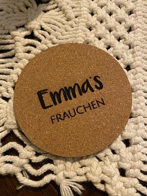 """Untersetzer Set """"Frauchen"""" personalisiert"""